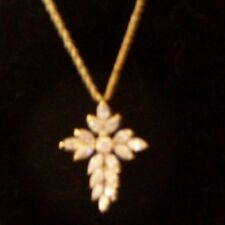 VINTAGE GOLD FILLED STERLING SILVER CROSS PENDANT WITH RHINESTONE 18 INCH CHAIN