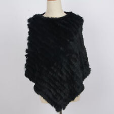 Real Rabbit Fur Poncho Lady Classical Knitted Shawl Women Popular Cape 91071