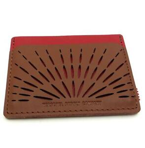 Herschel Supply Co. Charlie Perforated Leather Card Case Wallet Brown / Chili