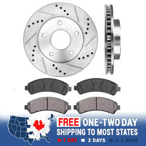 Front Drill And Slot Brake Rotors & Ceramic Pads For Chevy S10 GMC Envoy Sonoma