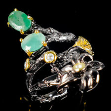 Vintage SET Natural Emerald 925 Sterling Silver Ring Size 7/R117130