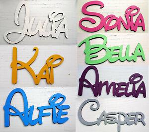 Namensschild Wunschtext personalisiert Zimmerschild Holz selbstklebend Cartoon