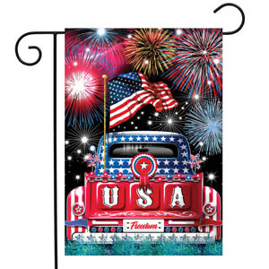 "USA Pickup Patriotic Garden Flag Fireworks 4th of July 12.5""x18"" Briarwood Lane"
