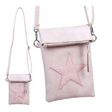 Damen Tasche Umhängetasche Clutch Handy Stern Rosa Kunstleder
