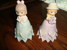 Precious Moments Birthday Porcelain Flower Girl Bells 2000 Full Set Of 12