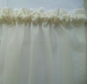1.70 x 50cm drop CREAM/ECRU Voile Sheer Curtain Bathroom Kitchen Caravan Laundry