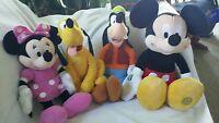Disney Plush Lot Minnie Mickey Pluto Goofy