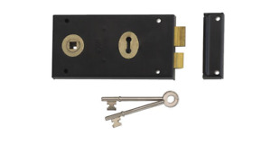 Union 1448 Rim Deadlock 1 Lever Double Handed Lock Left Right Black Brass 2 Keys