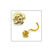 14K SOLID GOLD Nose Screw Screws Nose Ring Rose 20G