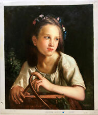 """Young Girl w/ Picnic Basket"" Original Oil on Canvas 24""x 20"" signed: S. Lester"
