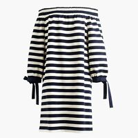J Crew Shift Dress Womens Size XS Navy Blue White Striped Off the Shoulder