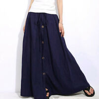 Hot Women's A-Line Elastic Waist Casual Button Flare Full Length Long Maxi Skirt