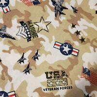 Fabric Military Marines Veterans Forces Military 100% Cotton BTY Patriotic FQ