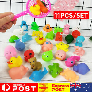 10PCS Bath Toys Baby Water Rubber Float Animals Sound Toys Swimming Shower