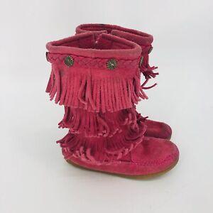 Minnetonka Kids Pink Fringe Moccasin Boots Size 11 (Run Small) Zip Up Toddler