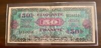50 Franc Note from France, Series 1944, #141692, Allied Military Currency, WWII