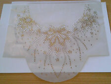 Iron-On Rhinestone Motif Hot Fix  - Gold & Clear Flower Neckline design