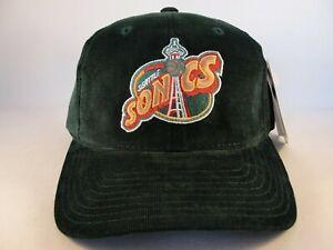 Seattle Supersonics NBA Vintage Adjustable Strap Hat Cap Green Corduroy