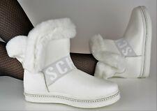 Damen Schuhe Fell Boots Stiefel Weiss Weiß Indianer Stiefeletten Warm Flach Neu
