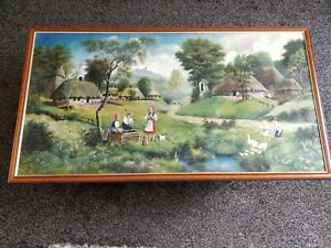 Traditional Romanian village. Original oil on canvas painting. Very large