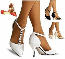 NEW Ladies Ankle Strap Party Prom Evening Low Mid Heel Court Shoes Size 24-55