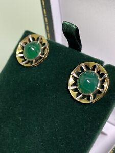 An Art-Deco 18K Yellow Gold & Platinum New Zealand Greenstone Clip on Earrings