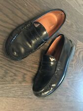 Armani Boy Black Leather Loafers Moccasins Shoes Size 32