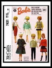 McCall's 7431 Miss Barbie Midge DOLL Fabric Sewing & Knitting Pattern Mattel