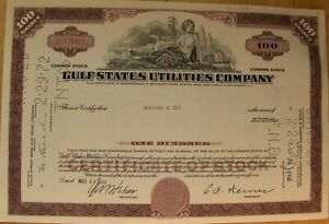 Gulf States Utilities Stock certificate. Payee Means & Co 100 shares 1968