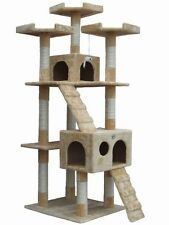 Pet Club Tall Beige Cat Tree Furniture Toy Bird House Condo Bed Litter Treat