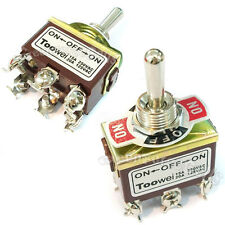 2 ON-OFF-ON DPDT TOGGLE SWITCH Latching 15A 250V 20A 125V AC Heavy Duty T702CW