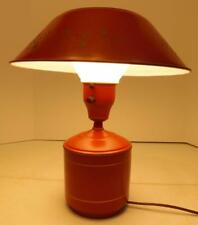 VINTAGE RED TOLEWARE ELECTRIC LAMP WITH MILK GLASS GLOBE AND METAL SHADE