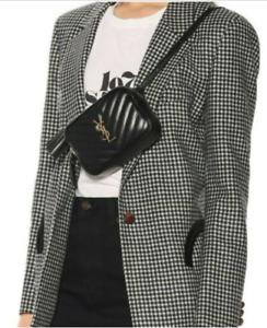 New SAINT LAURENT Lou Leather Bum Bag Black Gold