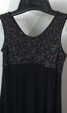 Girls L Melissa Empire Waist Black Glitter Top Competition Ice Skating Dress