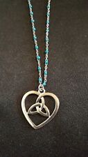 Antique silver tone and green triquetra heart necklace Stainless Steel