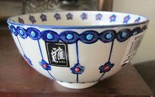 Yokohama Studio Miyabi Hand Painted floral blue orange Small Footed Rice Bowl