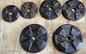 "35 Lbs Locking Sears JC Higgins 1"" Vintage Weight Plates"