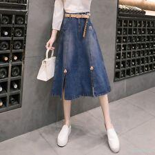 Womens Denim Mid Long Front Slit Skirts High Waist A Skirt Dress Jeans Casual