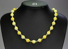 """Lovely yellow glass marble-effect bead necklace, crystals, silver bead caps 21"""""""