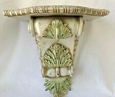 "Wall Shelf Acanthus Leaf Corbel Sconce Distressed White Pastel Cottage Decor 12"""
