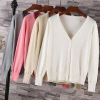 Women Knitting Cardigan Sweater Long Sleeve V-Neck Loose Autumn Winter Coat