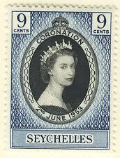 SEYCHELLES 1953 CORONATION BLOCK OF 4 MNH