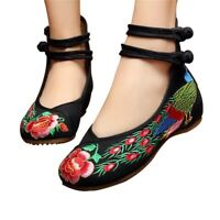 Chinese Embroidered Shoes Women Ballerina  Cotton Elevator shoes Double Pankou B