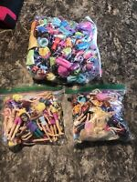 Huge Lot Polly Pocket Dolls With Hair & Rubber Clothes Accessories Some Disney