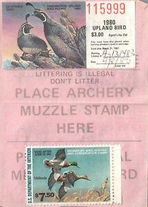 1980 USA Canard Tampon #RW47 + Upland Oiseau Washington Chasse & Pêcher