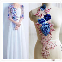 3D Lace Embroidery Flower Bridal Applique Beaded Pearl Tulle DIY Wedding Dress