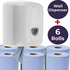 Blue Centerfeed Wall Dispenser with 6 Rolls of Center Feed