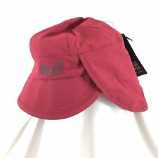 Jack Wolfskin Kids Rainy Day Hat Headgear Wind Water Proof Neck Protector Red S