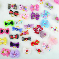 20pcs Assorted Pet Cat Dog Hair Bows with Rubber Bands Grooming Accessorie Gift