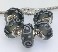 5PCS Silver Murano Lampwork Glass Beads fit European Charm Bracelet IL131